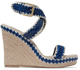 Tory Burch Lilah Leather And Linen Wedge Sandals