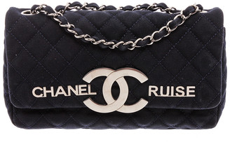 Chanel Limited Edition Navy Blue Quilted Fabric Cruise Single Flap Bag
