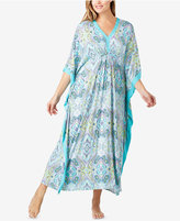 Ellen Tracy Plus Size Contrast-Trimmed Printed Caftan