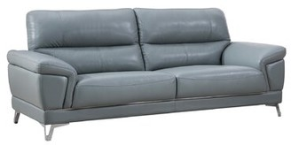 Berin Leather 89 inches Sofa Orren Ellis Upholstery Color: Light Gray