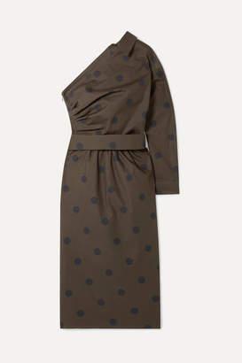 Max Mara One-shoulder Belted Polka-dot Cotton-poplin Dress - Army green