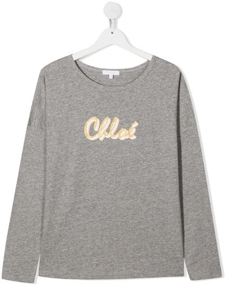 Chloé Kids TEEN logo-print cotton T-shirt