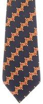 Hermes Spurs Print Silk Tie