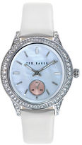 Ted Baker Ladies Crystallized Stainless Steel and Leather Watch