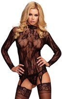 Leg Avenue Women's 2 Piece Long Sleeved Floral Lace Garter Top And G-String