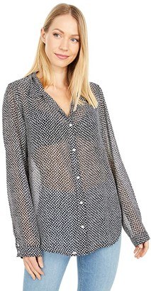 Dylan by True Grit Recycled Stars Button-Up Blouse (Black) Women's Clothing