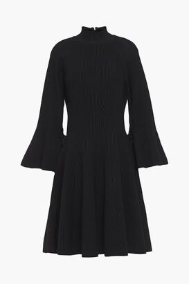 Carolina Herrera Fluted Lace-up Ribbed-knit Mini Dress
