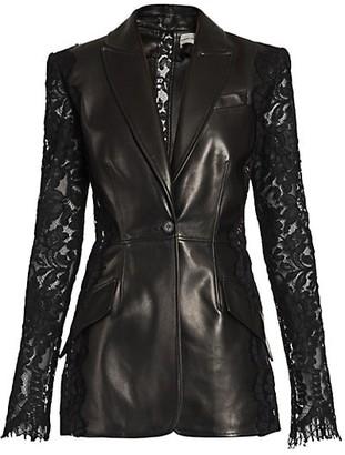 Alexander McQueen Lace Sleeve Leather Blazer