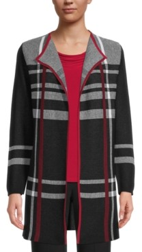 Kasper Plaid Cardigan Sweater