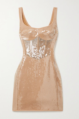 David Koma Sequined Tulle And Cady Mini Dress - Beige