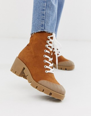 Asos DESIGN Ripple chunky lace up ankle boots in tan