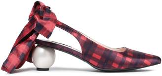 Mother of Pearl Bow-detailed Checked Satin Slingback Pumps