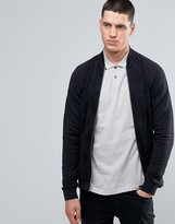 Pretty Green Track Jacket With Tonal Paisley Print Body In Slim Fit Black