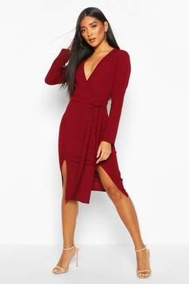 boohoo Double Split Belted Midi Dress