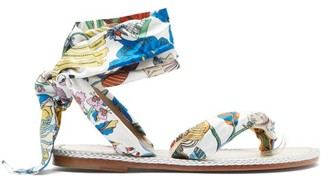 Christian Louboutin Spetsos Botanical-print Satin Sandals - White Multi