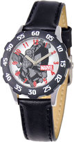 Marvel Spider-Man Kids Time Teacher Black Leather Strap Watch