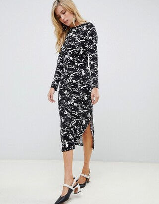 French Connection marble print midi dress-Black