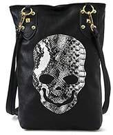Micom Womens Skull Print Tote Shoulder Bag 3D Devil Gothic Studded Handbag