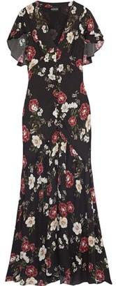 Nicholas Fluted Pintucked Floral-print Silk-chiffon Maxi Dress
