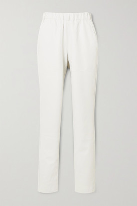 Tibi Faux Leather Tapered Pants - White