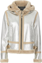 BARBARA BUI INTITIAL Barbara Bui Shearling Trim Silver Flying Jacket Metallic M/L