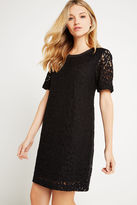BCBGeneration Short-Sleeve Lace Dress - Black