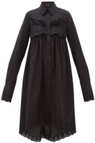 Simone Rocha Ruffle-trim Cotton-poplin Shirtdress - Womens - Black