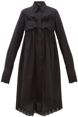 Simone Rocha Ruffle-trim Cotton-poplin Shirtdress - Womens - Black