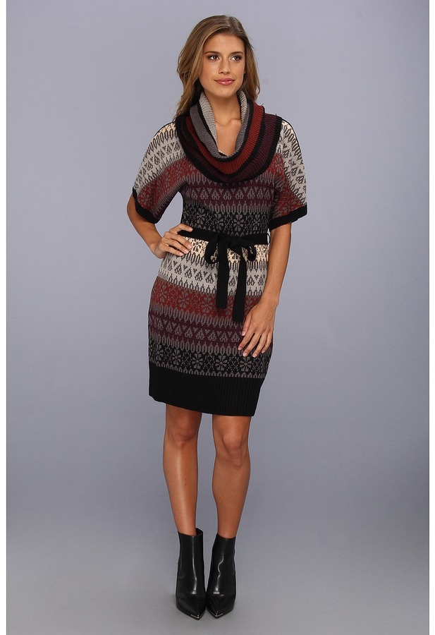 Jessica Simpson Fair Isle Sweater Cowl Neck Dress w/ Oversized S/S (Mutli) - Apparel
