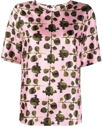 Odeeh Rose Print Short-Sleeve Blouse