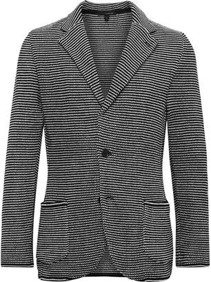 Lardini Slim-Fit Striped Cotton-Jacquard Knitted Blazer