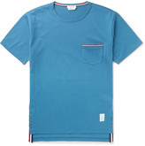 Thom Browne Slim-fit Grosgrain-trimmed Cotton-jersey T-shirt - Blue