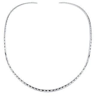 Overstock Boho Hammered Choker Slider Collar Contoured Statement Necklace