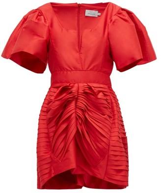Preen by Thornton Bregazzi Oksana Gathered Silk-satin Mini Dress - Red