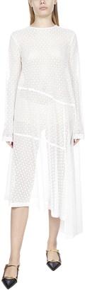 Jil Sander Lace Pattern Asymmetric Maxi Dress