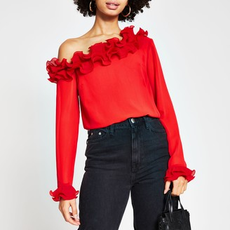 River Island Womens Red long sleeve one shoulder frill top