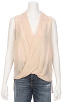 L'Agence Pearl Drape Wrap Silk Blouse