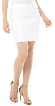 Liverpool Los Angeles Frayed Hem Denim Skirt