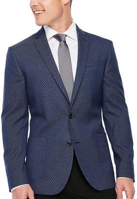 Jf J.Ferrar Mens Blue Diamond Slim Fit Sport Coat