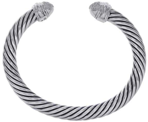 David Yurman Cable Classic Sterling Silver with 0.34ct. Diamonds Cuff Bracelet