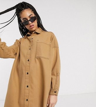 Collusion denim oversized shirtdress in tobacco