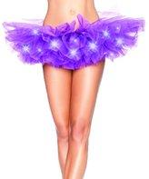Kobwa(TM) Women LED Light Mesh Layered Dance Rave Tutu Skirt with Kobwa's Keyring