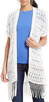 Jones New York Crochet Open-Front Tassel Hem Cardigan