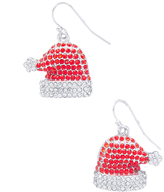 Carole Red Glass Crystal & Silvertone Santa Hat Drop Earrings
