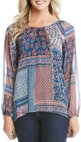 Karen Kane Paisley Patchwork High Low Blouse