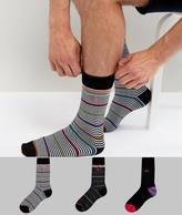 Pringle Socks In 3 Pack With Fine Stripe