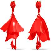 Oscar de la Renta Large Impatiens Resin Clip Earrings - Red
