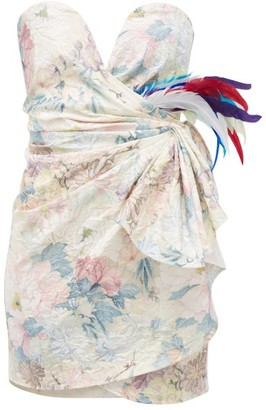 ATTICO Floral-print Feather-trimmed Strapless Mini Dress - White Multi