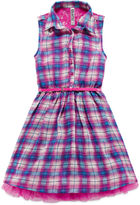 Knitworks Knit Works Sleeveless Plaid Chiffon Belted Shirtdress - Girls 7-16