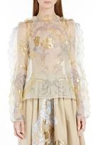 Fendi Women's Versailles Print Silk Organza Top